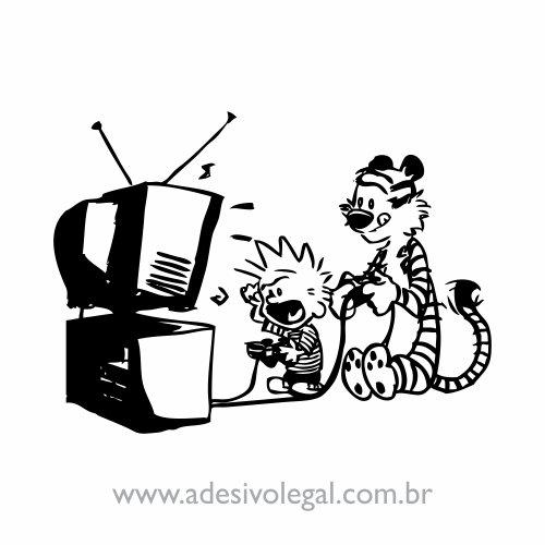 Adesivo - Calvin e Haroldo - Video Game