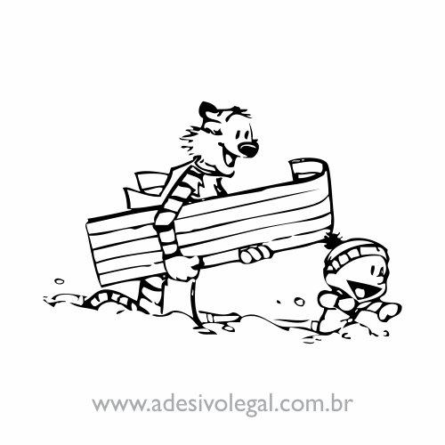Adesivo - Calvin e Haroldo - Na Neve