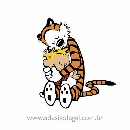Adesivo - Calvin e Haroldo - Abraço - Colorido