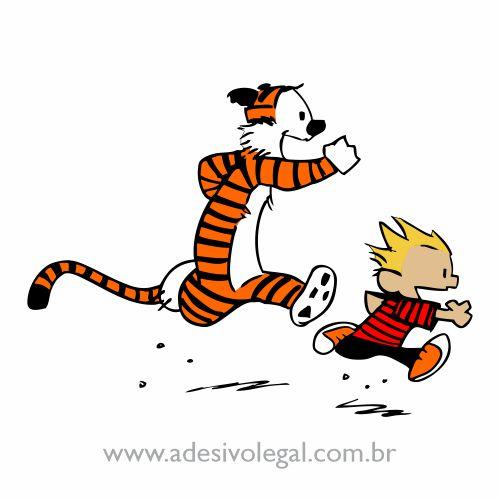 Adesivo - Calvin e Haroldo - Correndo - Colorido