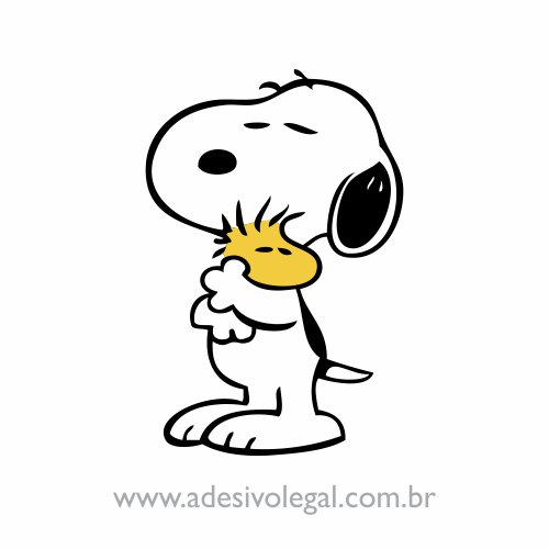 Adesivo - Snoopy e Woodstock - Abraço - Colorido