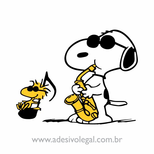 Adesivo - Snoopy e Woodstock - Música - Colorido