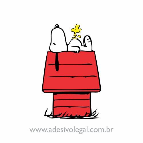 Adesivo - Snoopy e Woodstock Deitado no Telhado - Colorido