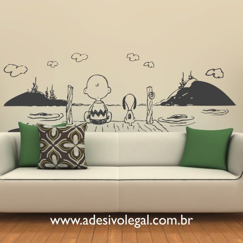 Adesivo - Charlie Brown e Snoopy no Deck