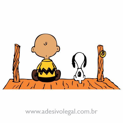 Adesivo - Charlie Brown e Snoopy no Deck - Colorido