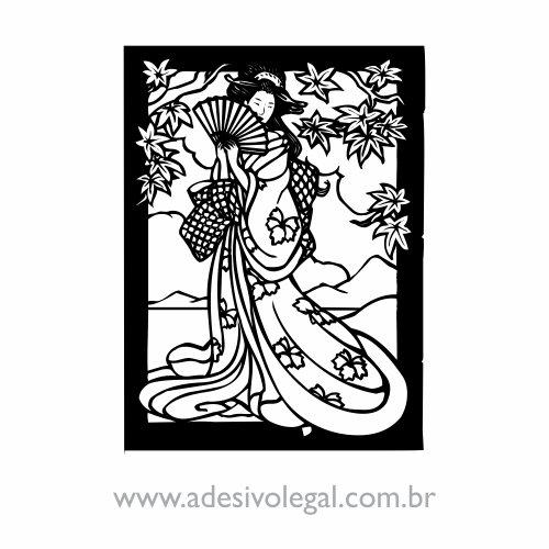 Adesivo - Oriental - Geisha com Leque
