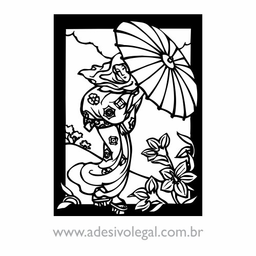 Adesivo - Oriental - Geisha com Guarda-Chuva