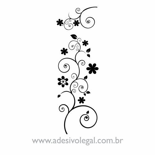 Adesivo - Ornamento Floral em Duas Peças