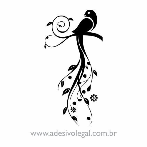 Adesivo - Ornamento Pássaro com Linhas