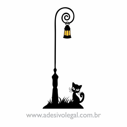 Adesivo - Ornamento Luminária e Gato