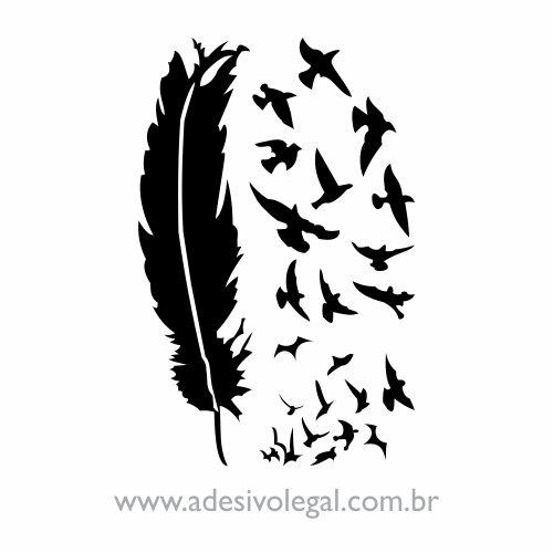 Adesivo - Ornamento Pena com Pássaros