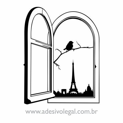 Adesivo - Ornamento Janela em Paris