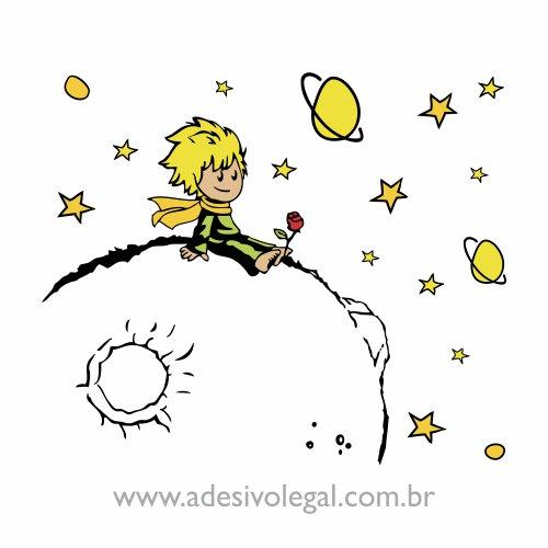 Adesivo - O Pequeno Príncipe - Sentado no Planeta - Colorido