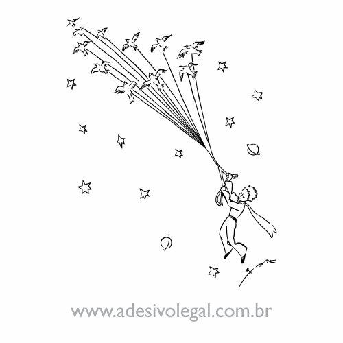 Adesivo - O Pequeno Príncipe Voando com Pássaros