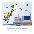 Adesivo - O Pequeno Príncipe Voando com Balões - Colorido