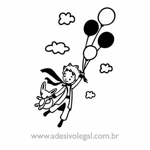 Adesivo - O Pequeno Príncipe Voando com Balões