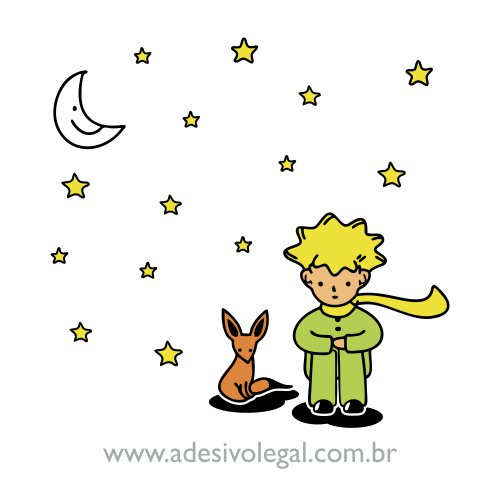 Adesivo - O Pequeno Príncipe com a Raposa - Colorido