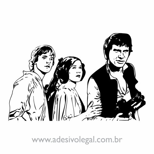 Adesivo - Star Wars - Luke, Leia e Han Solo