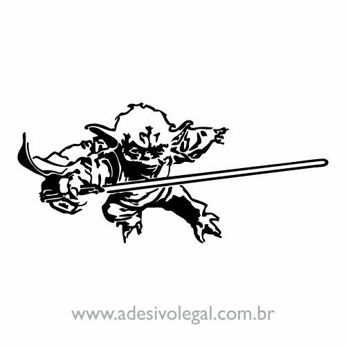 Adesivo - Star Wars - Mestre Yoda com Sabre