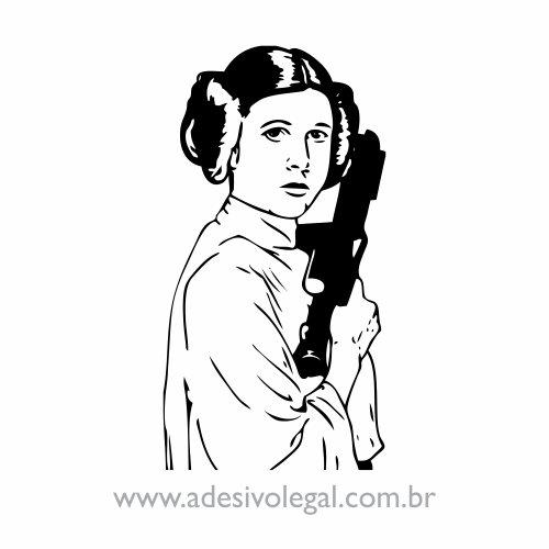 Adesivo - Star Wars - Princesa Leia com Arma